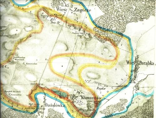 Klimontów na mapie Jana Hempla z 1856 r.
