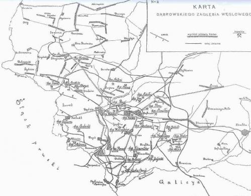 Mapa kopalń Zagłębia z 1918 r.