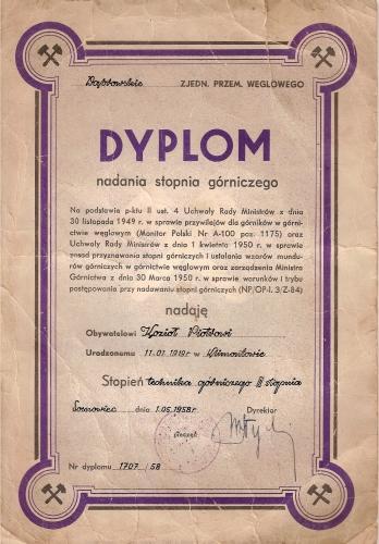 Dyplom nadania stopnia górniczego