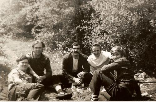 Panowie (prawdopodobnie Mróz, Kowalski, Doroś, Oruba, Żoryk Rosół) na Balatonie